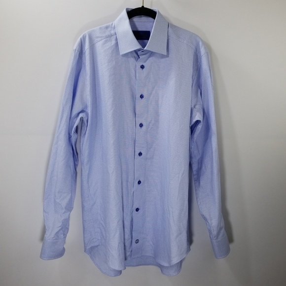 David Donahue Other - David Donahue Blue Printed Dress Shirt Size 15.5
